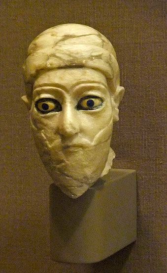 Head of a Ruler Third Dynasty of Ur Bismaya Temple Gypsum bitumen 2000-2050 BCE